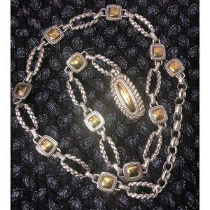 BRIGHTON 2 Tone Chain Link Belt Silver Gold